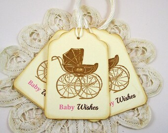 Baby Girl Wishes Tags, Baby Carriage Wish Baby Shower Wish Tags