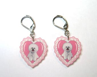 Handcrafted Plastic Bichon Frise Pink Heart Dangle Choice of Earrings, Necklace or Keyring Valentine Gift