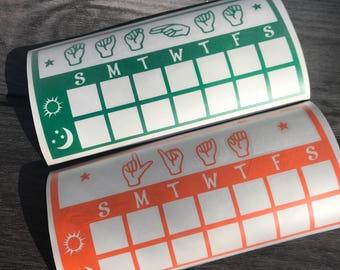 Toothbrushing Chart - Mirror Decal  - ASL toothbrushing chart - ASL - sign language