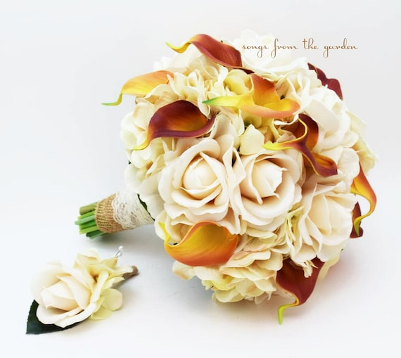 Items Similar To Autumn Wedding Real Touch Calla Lily Silk