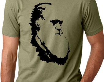 Charles Darwin evolution T shirt atheist tshirt gift for scientist atheist