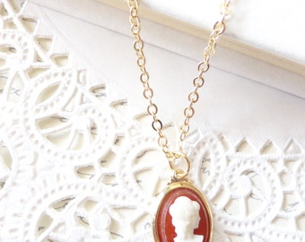 Lady in Red - Amber Red Cameo Necklace - Red Cameo Charm Necklace - Cameo Necklace - Shiloette Cameo Necklace