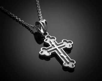 Sterling silver russian orthodox cross pendant necklace white gold russian eastern orthodox cross charm pendant necklace aloadofball Gallery
