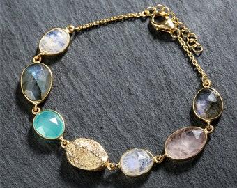 925 Sterling Silver Bracelet Semi-precious Stone Bracelets For Women Jewelry