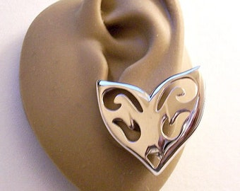 Monet Heart Flourish Cutout Clip On Earrings Silver Tone Vintage Large Open Swirls Polished Brushed Back Discs Comfort Paddles