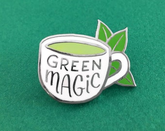 Green Tea Enamel pin - tea - latte enamel pin