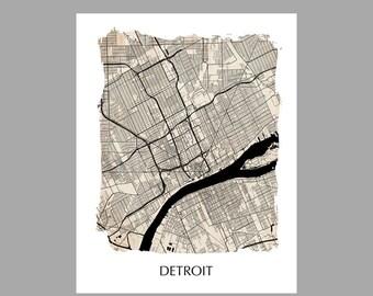 Detroit Map – Torn Edge Print – Poster – Print – Vintage – Grunge
