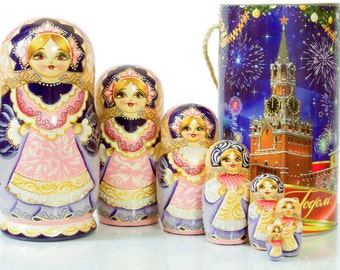 "Russian Nesting Doll ""Schoolgirl"" - BIG SIZE - 7 dolls in 1 - Russian Traditional - Hand Painted in Russia"