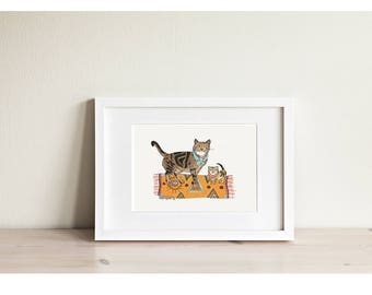 Cats on Mat - Mini Framed Print