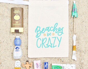 """5x7"""" Bachelorette Party Hangover Relief Bags - Beaches Be Crazy - Bags for Hangover Kit"""