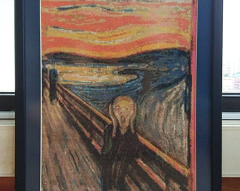 Completed & Framed Cross-Stitch of The Scream, Wall Art, Hanging Wall Art, Cross-Stitch Art, Edvard Munch, The Scream, Finished Cross Stitch