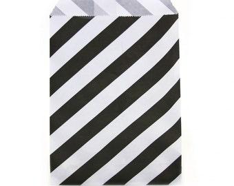 24 Black Treat Bags | Favor Bags | Goodie Bags | Popcorn Bags | Wedding Bags