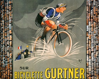 Bicyclette Gurtner Vintage Ad, Vintage Bicycle Ad, Vintage Art, Giclee Art Print, fine Art Reproduction