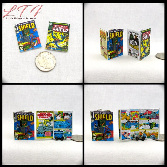 2 Miniature S.H.I.E.L.D Comic Books Readable Dollhouse 1:12 Scale *2 FOR 1* Marvel Movie Adventure Superhero Avengers Superhero Stan Lee
