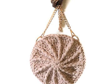 Round Crossbody Bag | Eco-Friendly | Crochet Handbag | Pink Round Purse | Purse with Gold Chain | Crossbody Bag | 100% Handmade |