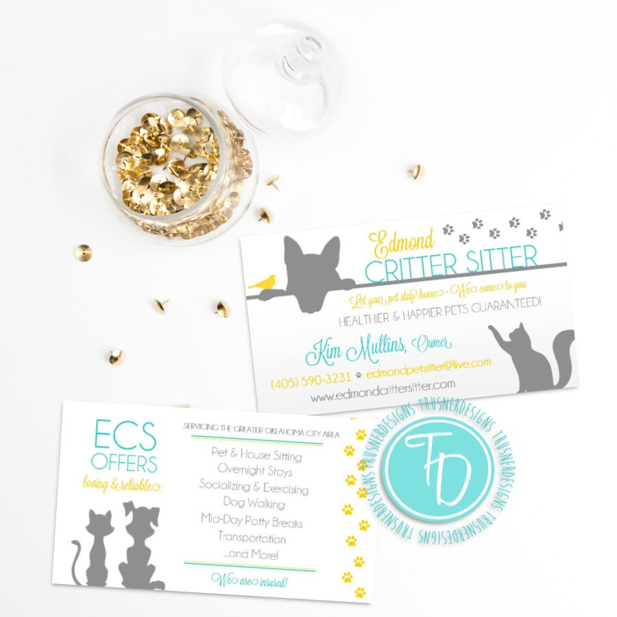 Pet Sitting Business Card Animal Business Card Pet Sitter