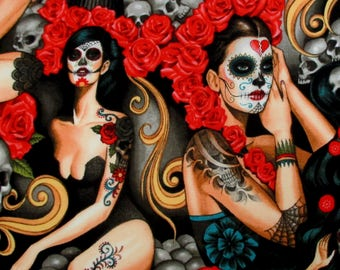 Fabric, Las Elegantes, Bright Smoke, Day of the Dead, Skulls, Red Roses, Tattoo, Alexander Henry, Sexy Pinups, By The Yard