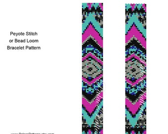 Tribal Narrow 6 Peyote Stitch and Bead Loom Bracelet Pattern, Delica Bead Bracelet Pattern, Southwest Bracelet Pattern