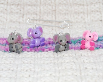 Cute Elephant knitting or crochet stitch markers - Set of 4 - Polymer Clay