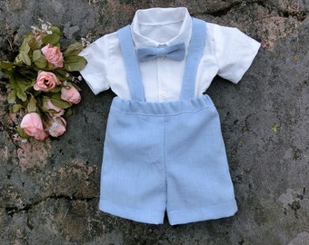Boys suspender shorts Easter sunday outfit Boys easter outfit Boys suspender set Baby boys linen shorts Blue suspenders Boys outfit set