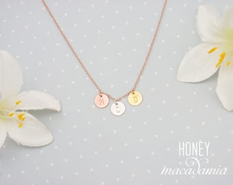 Personalized 3 three initial disc necklace. Dainty 14k rose gold filled, sterling silver and gold filled necklace