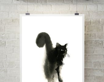 Cat Minimalist Art Print, Cat Watercolor Painting Art Print, Black and White Cat Art, Cat minimalist wall art print