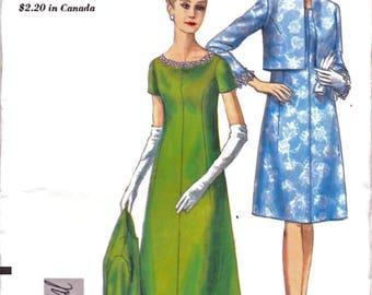 Robe de soirée Vogue 6944 spécial Design femme étage longueur, longueur aux genoux, non-coupe Bolero veste couture patron taille 16 Vintage 1960