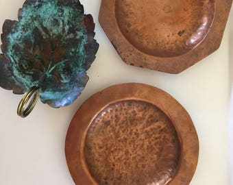 Vintage Arts and Crafts Handmade Copper Dishes, Set of Three