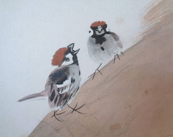 VJ530 : Painting on a shikishi board,Old Japanese watercolor/ink painting on a shikishi board''Sparrows'' ,Artist sign