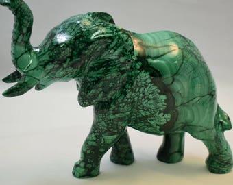 Whimsical Malachite Elephant Carving Figurine