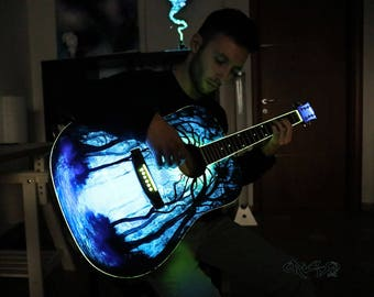 Guitar  Glow in the dark  Painting by Crisco Art