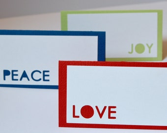 Christmas Place Cards or Food Labels Mint Green, Red & Navy