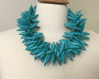 Stunning Gerda Lynggaard Monies Style Modernistic Turquoise Necklace