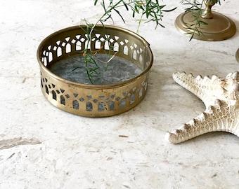 Vintage Tiny Round Brass Tray  • Brass Candleholder • Bohemian Decor