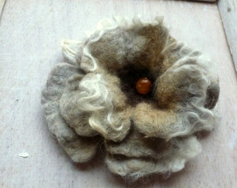 Embroidered felt brooch teal  nature