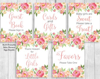 Coral Peonies Girl's 8x10 Printable Baby Shower Sign Bundle - Coral and Pink Watercolor Peonies Guest Book, Gift Table, Favor Table
