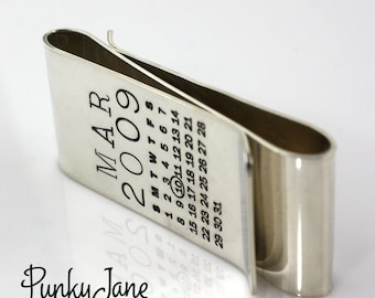 One Calendar/One Message - Double Mark Your Calendar Money Clip with Stamping on the Back - personalized sterling silver double money clip
