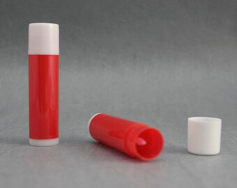 10 Empty LIP BALM Containers (Tubes & Caps) Red / White
