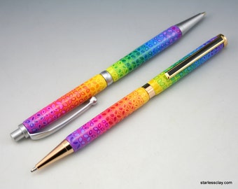Rainbow Pen in Fimo Flower Pattern Mechanical Pencil