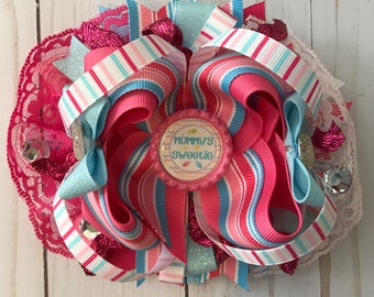 Taylormade custom boutique mommy's sweetie candy summertime over the top hair bow