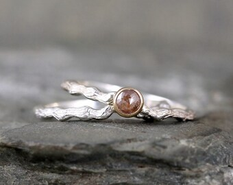 Cognac Rose Cut Diamond Twig Engagement Ring - Sterling Silver 14K Yellow Gold  - Tree Branch Rings - Nature - Alternative Engagement Ring