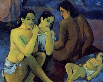 Detail from Where Do We Come From, Where Are We, Where Are We Going by Gauguin - an Original 1954 Art Print