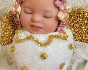 Baby gift angel baby's First Christmas ornament glitter snuggle