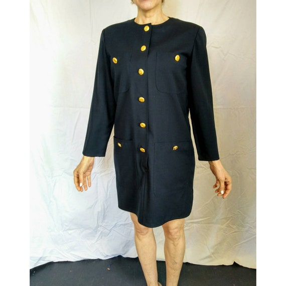 Vintage Valentino Classic Dark Navy Blue Wool Shift Smock Dress Italy Gold Buttons