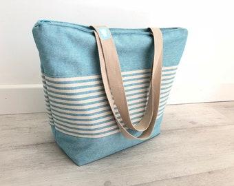 regalo mujer, regalo chica, bolso tote, totebag, bolso totebag, bolso rayas, rosa, rayas, rayas azules, bolsa playa, bolsa piscina, gimnasio