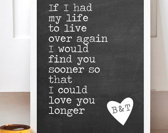 Love You Longer Print - Chalkboard Couple Print - Chalkboard Wedding - Wedding Gift - Chalkboard Print - Chalkboard Sign