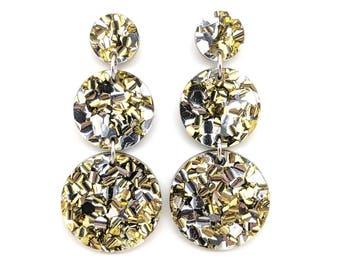 Triple Tier Dangle Earring - chunky silver gold