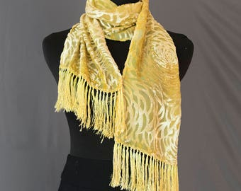 Plant-dyed, Hand-dyed, Silk Cut Velvet Fringed Scarf with Osage Orange and Tansy