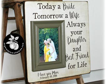 Thank You Gift Mom, Mother of the Bride Gift From Daughter, Today a Bride, Wedding Gift, Picture Frame, Parents of the Bride 16x16