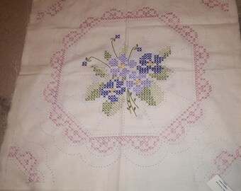 2 Hand Embroidered Quilt Blocks VIOLETS